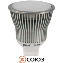 Лампа Gauss LED MR16 8W SMD AC220-240V 4100K 1/10/100