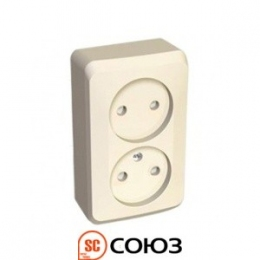 Schneider Electric Этюд Розетка 2-я 2К 16А-250В ОУ крем PA16-005К